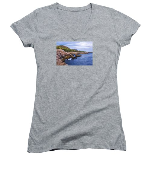 Women's V-Neck T-Shirt (Junior Cut) featuring the photograph Acadia's Coast by Chad Dutson