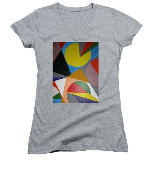 Accidental Pacman Women's V-Neck T-Shirt (Junior Cut) by Barbara Yearty