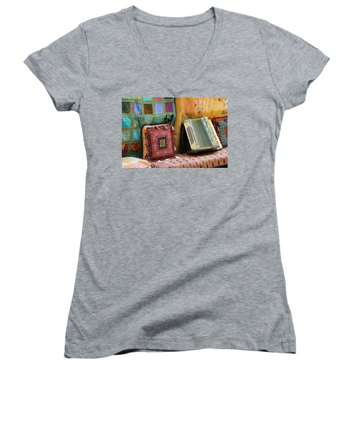 Accordion  With Colorful Pillows Women's V-Neck T-Shirt