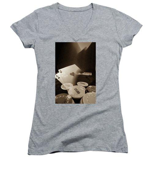 Aces Up Women's V-Neck T-Shirt (Junior Cut) by Mark Dunton