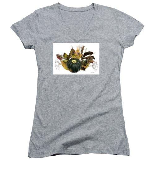 Women's V-Neck T-Shirt (Junior Cut) featuring the digital art Acorn Squash Bouquet by Lise Winne