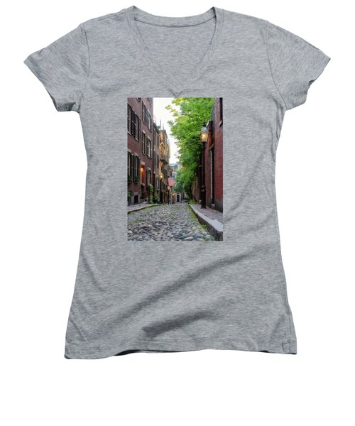 Women's V-Neck featuring the photograph Acorn St. 1 by Michael Hubley