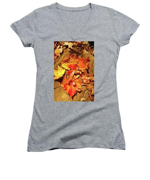 Women's V-Neck T-Shirt (Junior Cut) featuring the photograph Acorns Fall Maple Leaf by Meta Gatschenberger