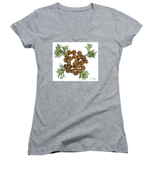 Women's V-Neck T-Shirt (Junior Cut) featuring the digital art Acorns With Cedar by Lise Winne
