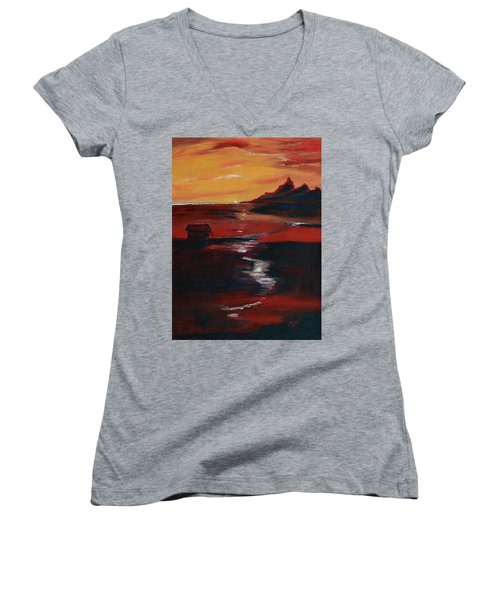 Across Amber Fields To The Sea Women's V-Neck T-Shirt (Junior Cut) by Donna Blackhall