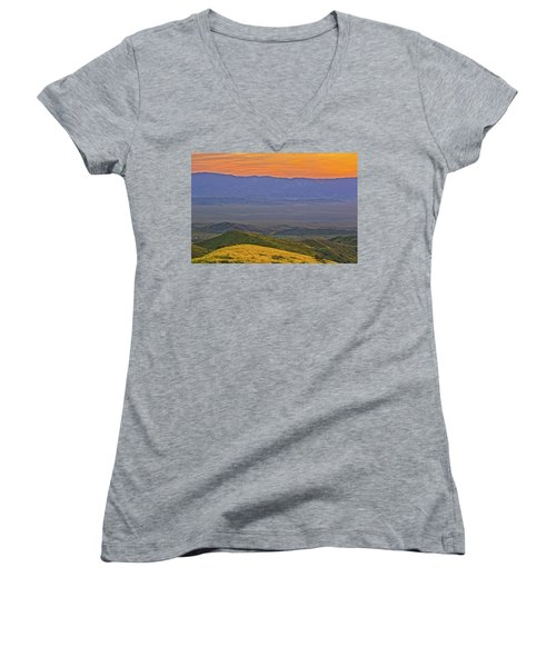 Across The Carrizo Plain At Sunset Women's V-Neck T-Shirt (Junior Cut) by Marc Crumpler