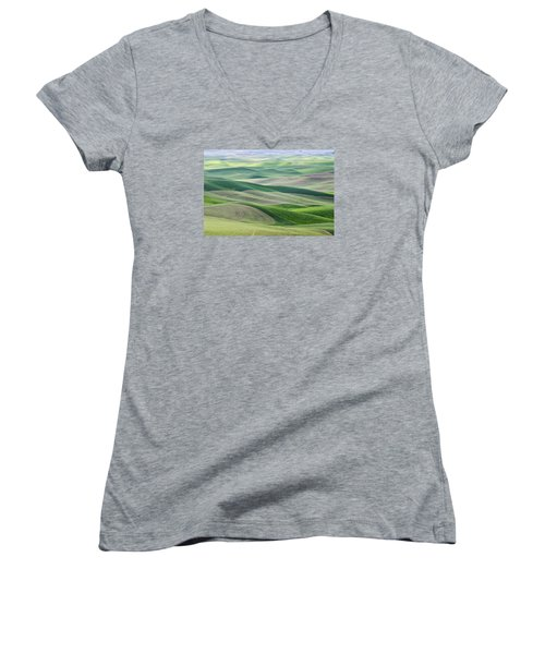 Women's V-Neck T-Shirt (Junior Cut) featuring the photograph Across The Valley by Wanda Krack