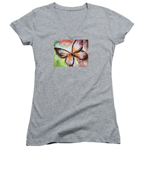 Acrylic Butterfly Women's V-Neck T-Shirt (Junior Cut) by Tom Riggs