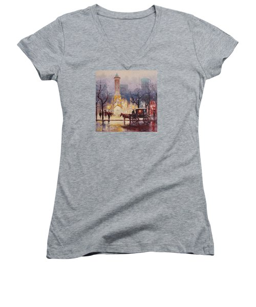 Acrylic Msc 054 Women's V-Neck T-Shirt (Junior Cut) by Mario Sergio Calzi