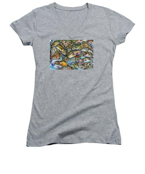 Action Fish Collage Women's V-Neck T-Shirt (Junior Cut) by Jon Q Wright JQ Licensing