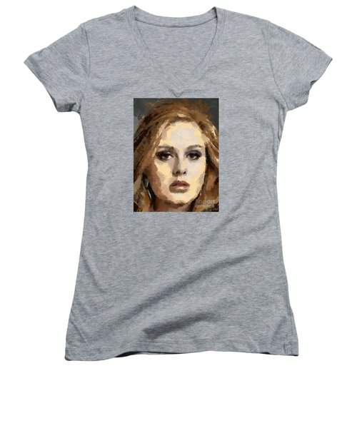 Adele Women's V-Neck T-Shirt (Junior Cut) by Dragica Micki Fortuna