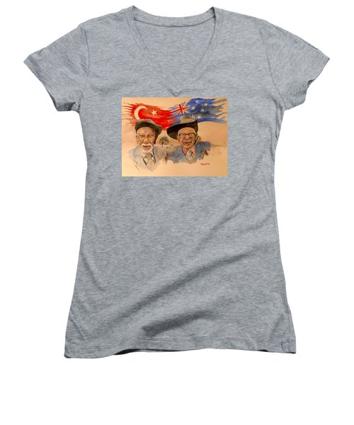 Women's V-Neck T-Shirt (Junior Cut) featuring the painting Adil Sahin And Len Hall by Ray Agius
