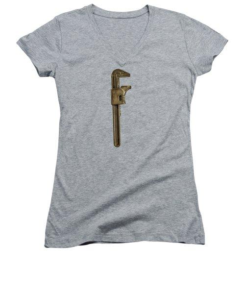 Adjustable Wrench Backside Women's V-Neck T-Shirt (Junior Cut) by Yo Pedro