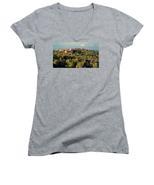 Women's V-Neck T-Shirt (Junior Cut) featuring the photograph Adobe Homestead Santa Fe by Diana Mary Sharpton
