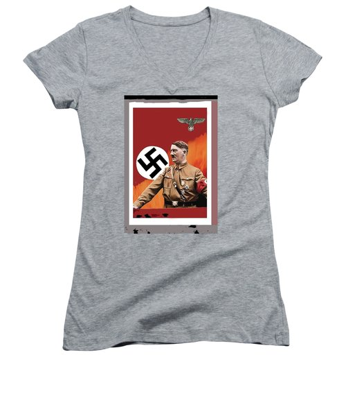 Adolf Hitler In Color With Nazi Symbols Unknown Date Additional Color Added 2016 Women's V-Neck