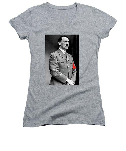 Adolf Hitler The Visionary Circa 1941 Color Added 2016 Women's V-Neck