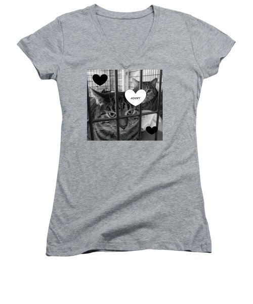 Adopt Women's V-Neck T-Shirt (Junior Cut) by Mary Ellen Frazee