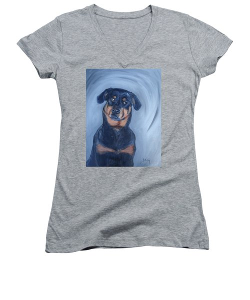 Women's V-Neck T-Shirt (Junior Cut) featuring the painting Adrian by Donna Tuten