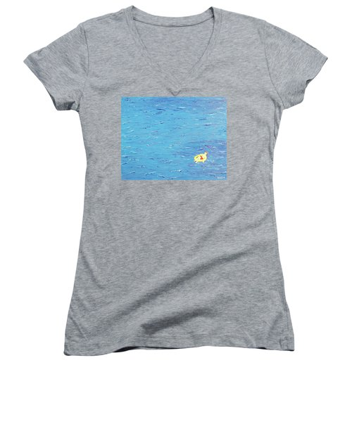 Women's V-Neck T-Shirt (Junior Cut) featuring the painting Adrift by Thomas Blood