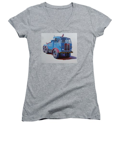 Women's V-Neck T-Shirt (Junior Cut) featuring the painting Aec Militant Lloyds by Mike Jeffries