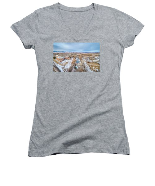 aerial cityscape of Fort Collins Women's V-Neck (Athletic Fit)