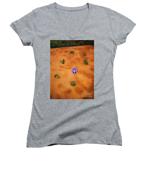Aerial Of Hot Air Balloon Above Tilled Field Fall Women's V-Neck