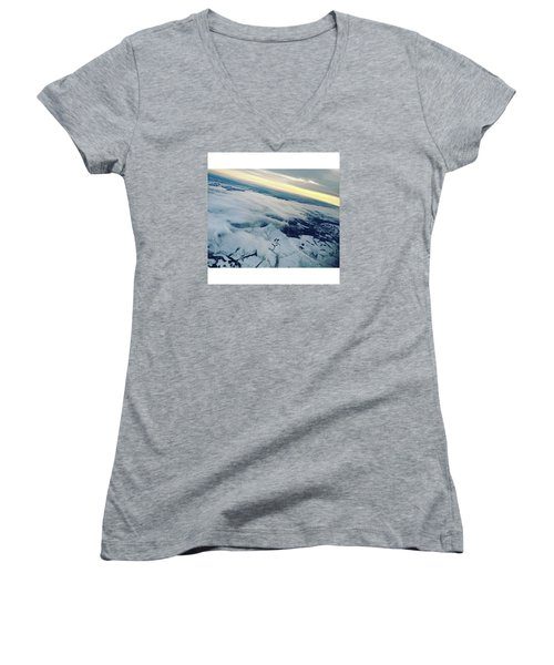 Edinburgh Winter Sunset Women's V-Neck T-Shirt (Junior Cut) by Patsy Jawo