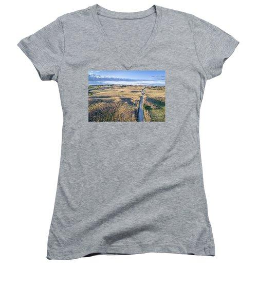 aerial view of Nebraska Sandhills  Women's V-Neck T-Shirt
