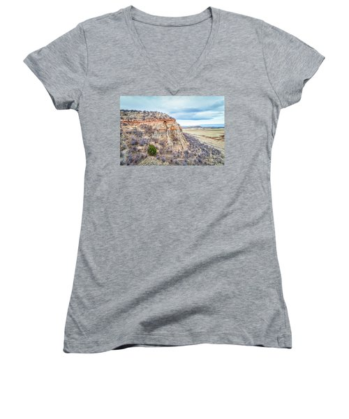 aerial view of northern Colorado foothills  Women's V-Neck (Athletic Fit)