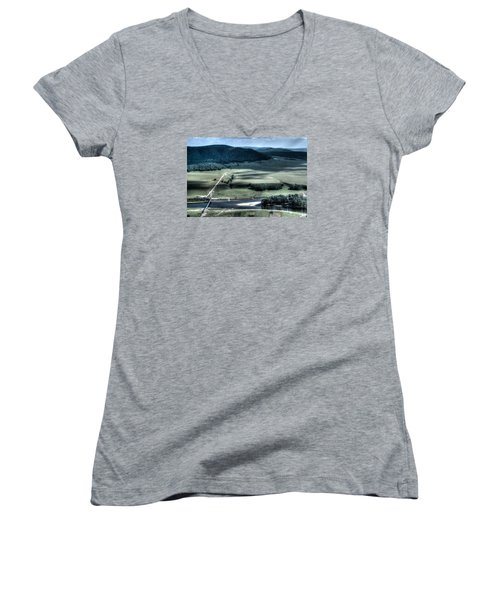 Aerial View Of Rolling Russian Hills Women's V-Neck T-Shirt (Junior Cut) by John Williams