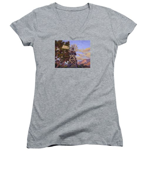 Aeromotor Women's V-Neck T-Shirt (Junior Cut) by Jane Thorpe