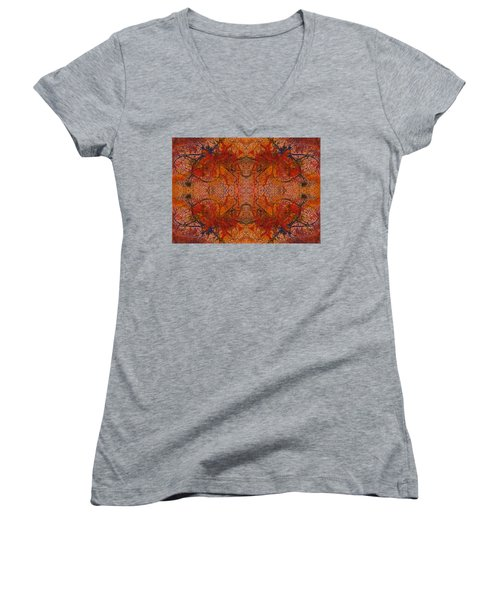Aflame With Flower Quad Hotwaxed Version Of Acrylic/watercolour Women's V-Neck