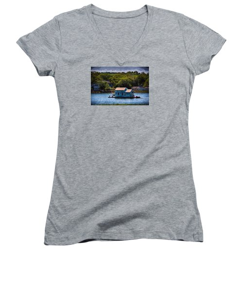 Afloat Women's V-Neck T-Shirt (Junior Cut) by Tricia Marchlik
