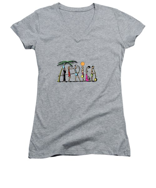 Women's V-Neck T-Shirt (Junior Cut) featuring the painting Africa by Anthony Mwangi