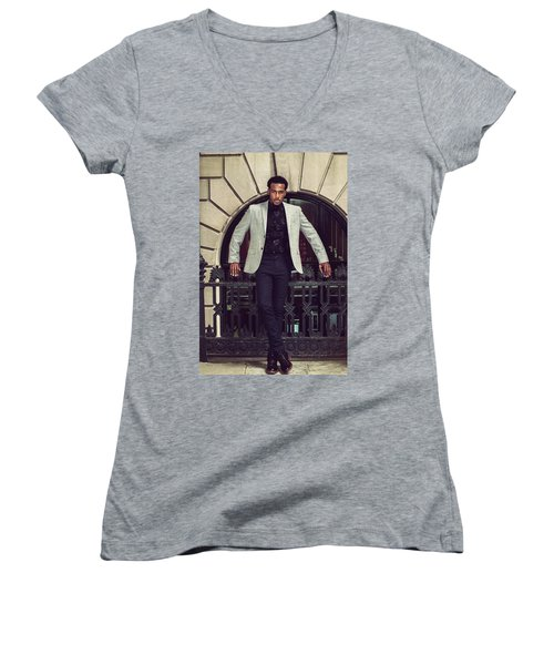 African American Businessman Working In New York Women's V-Neck