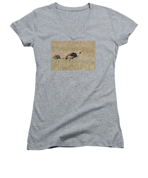 African Grey Crown Crane Women's V-Neck (Athletic Fit)