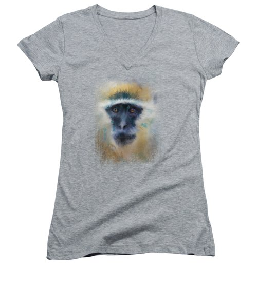African Grivet Monkey Women's V-Neck T-Shirt (Junior Cut) by Jai Johnson