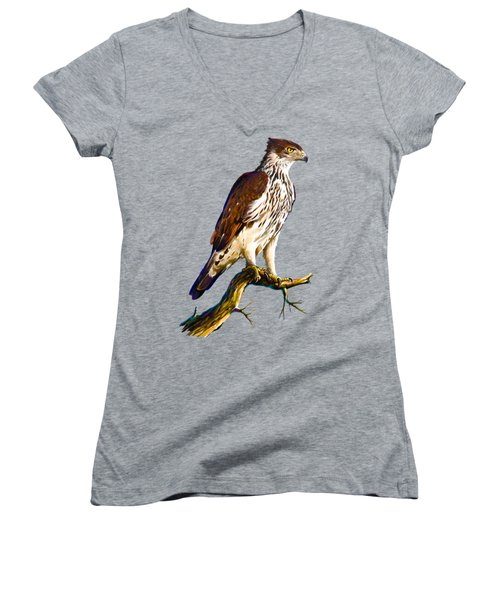 African Hawk Eagle Women's V-Neck T-Shirt (Junior Cut) by Anthony Mwangi