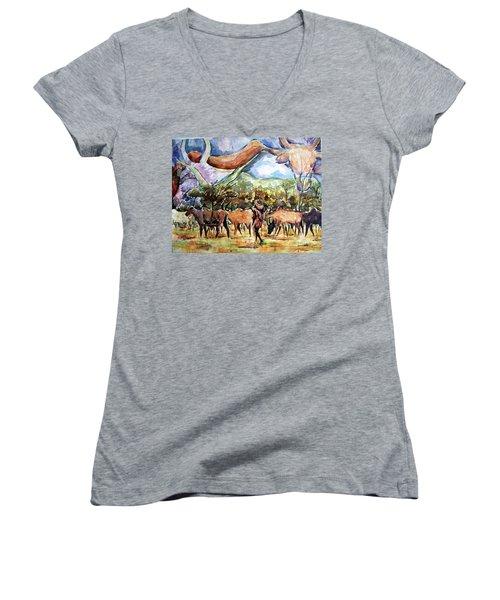 African Herdsmen Women's V-Neck T-Shirt