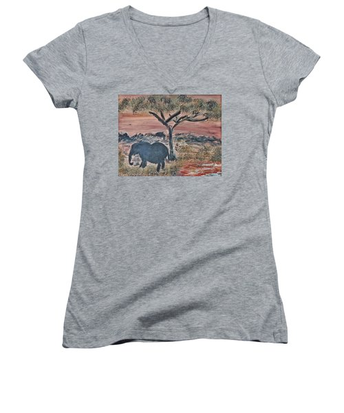 Women's V-Neck T-Shirt (Junior Cut) featuring the painting African Landscape With Elephant And Banya Tree At Watering Hole With Mountain And Sunset Grasses Shr by MendyZ