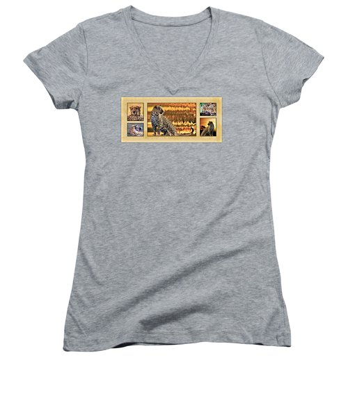 African Leopards And Cheetahs Women's V-Neck T-Shirt