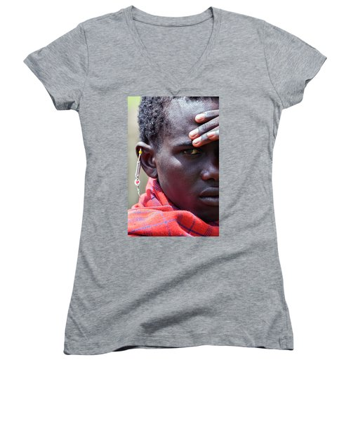 African Maasai Warrior Women's V-Neck T-Shirt (Junior Cut) by Amyn Nasser