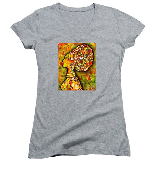 Women's V-Neck T-Shirt (Junior Cut) featuring the painting African Queen by Julie Hoyle