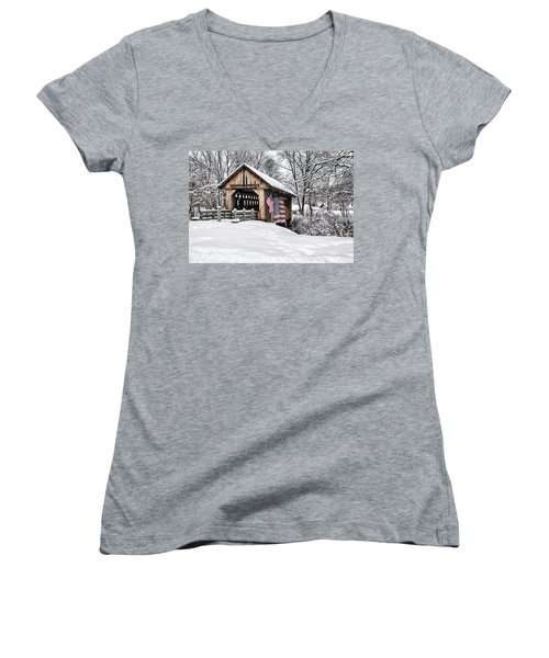 After A Winter Snow Storm Cilleyville Covered Bridge  Women's V-Neck