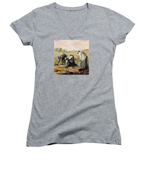 after Jean-Francois Millet  The Gleaners Women's V-Neck T-Shirt (Junior Cut) by Jodie Marie Anne Richardson Traugott          aka jm-ART