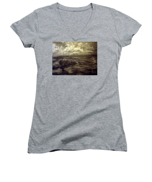 Women's V-Neck T-Shirt (Junior Cut) featuring the drawing After Rain by Mikhail Savchenko