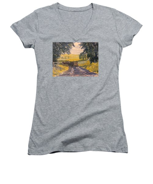 After Rain On The Wolds Way Women's V-Neck (Athletic Fit)