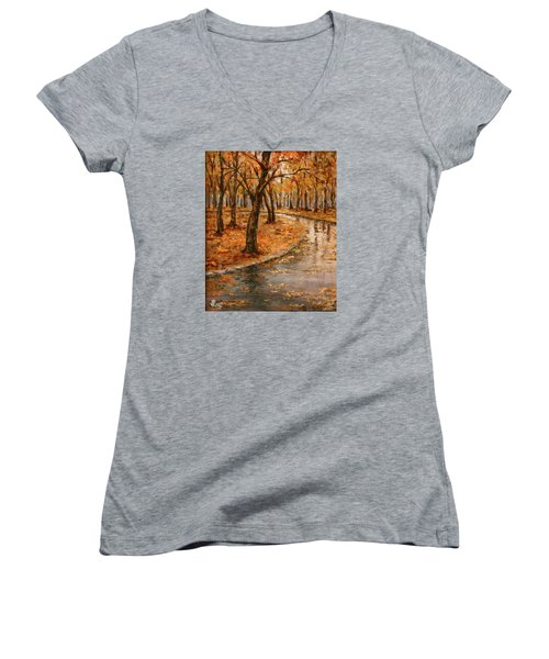 After Rain,walk In The Central Park Women's V-Neck T-Shirt (Junior Cut) by Vali Irina Ciobanu