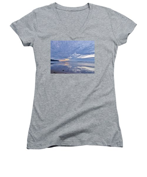 Women's V-Neck T-Shirt (Junior Cut) featuring the photograph Moonlight After Sunset by Michele Penner