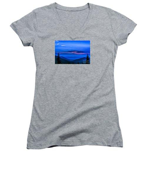After Sunset Women's V-Neck T-Shirt (Junior Cut) by Thomas R Fletcher